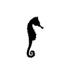 Black seahorse silhouette hand drawing seahorse vector