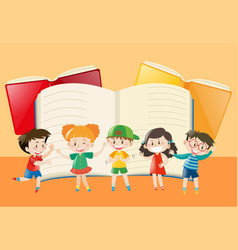 blank notebook and happy children vector image