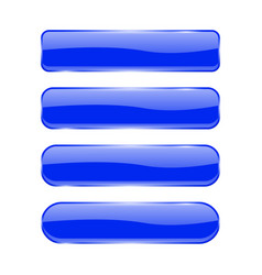 Blue glass buttons shiny rectangle 3d icons vector
