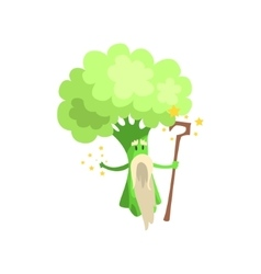 Broccoli Wizard With Staff And White Beard Part vector