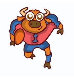 Bull playing american football cartoon vector image