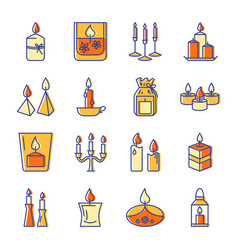Burning candle icons set in colored line style vector