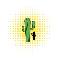 Cactus icon in comics style vector