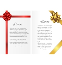 Card templates with text and colored ribbons vector