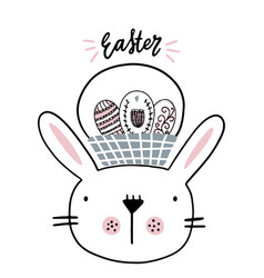 card with calligraphy lettering easter with bunny vector image