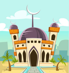 Cartoon tall mosque building with river park and vector