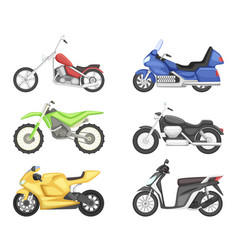 Chopper cruiser sport bike and others types vector