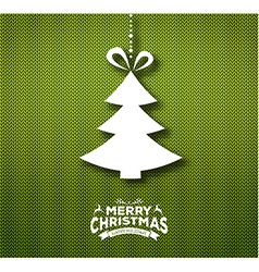 Christmas calligraphy on knitted pattern vector image