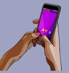 Close-up drawn female hands holding the phone vector