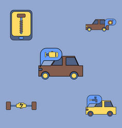 Collection of icons and vehicle parts vector