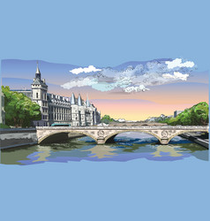 colorful hand drawing paris 5 vector image