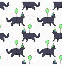 Cute cartoon british shorthair cat with party hat vector