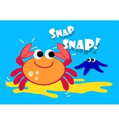 Cute crab and starfish under the sea vector