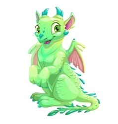 Cute friendly sitting green dragon vector