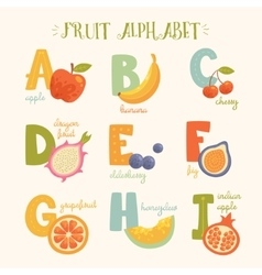 cute fruit alphaber for kids vector image
