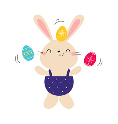 cute little bunny holding colorful eggs adorable vector image