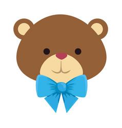 Cutte little bear teddy with bowtie vector