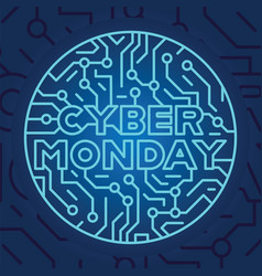cyber monday on blue electrical circuit background vector image