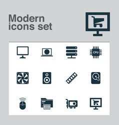 digital icons set with internet monitor ram and vector image