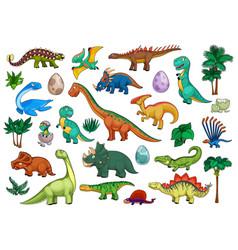 Dinosaurs cartoon set with cute dino animals vector