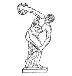 Disc thrower is a sculpture ancient mummy vector