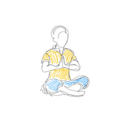 Doodle line drawing of people meditation concept vector