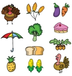 Doodle of thanksgiving vegetable turkey vector