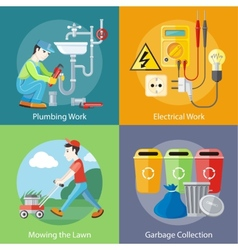 Electrical Plumbing Work Mowing Lawn and Garbage vector