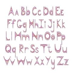English alphabet embroidered on cardboard vector