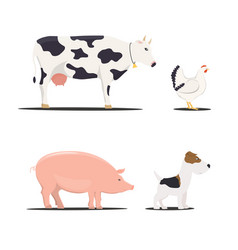 farm chicken pork and cow dog - vector image