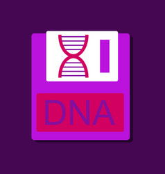 Flat icon design collection dna disk in sticker vector
