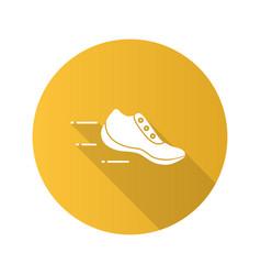 flying sneaker flat design long shadow glyph icon vector image