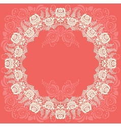 Frame of floral elements frame in gzhel style vector
