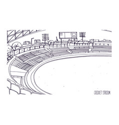 Freehand sketch of cricket stadium with rows of vector