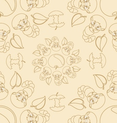 Funny caterpallars seamless pattern vector image