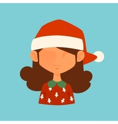 Girl Christmas Santa red hat avatar face icon vector