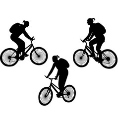 girl riding bicycle silhouettes vector image