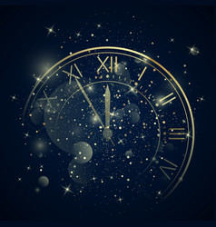 Golden clock dial with roman numbers on magic vector