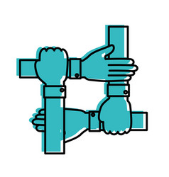 Hands teamwork symbol vector