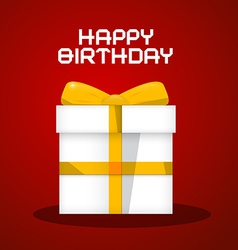 Happy Birthday White Paper Gift Box on Red B vector image