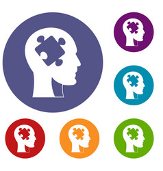 head with puzzle icons set vector image