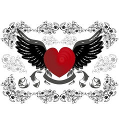 Heart with wings and background vector
