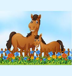 Horse family at flower garden vector