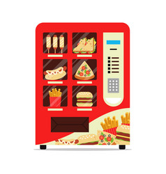 hot food automatic vending machine with sausage vector image