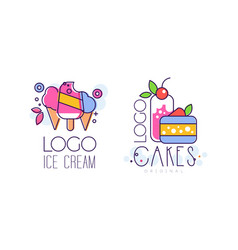ice cream and cakes logo design set tasty sweet vector image
