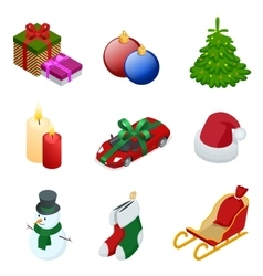 isometric xmas elements gift christmas tree new vector image
