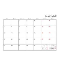 January 2020 simple calendar planner week starts vector