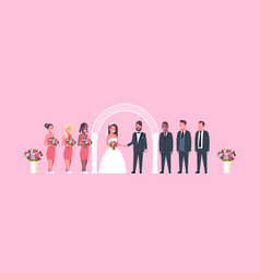 Just married bride and groom with bridesmaids vector