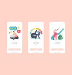 Level up mobile app page onboard screen template vector