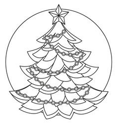 line art black and white christmas tree vector image